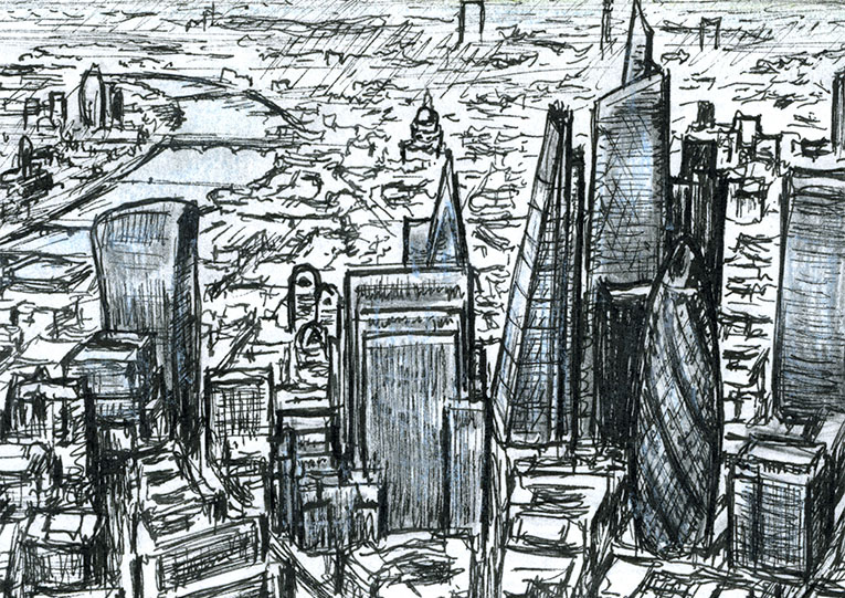 Aerial view of City of London skyscrapers of the future