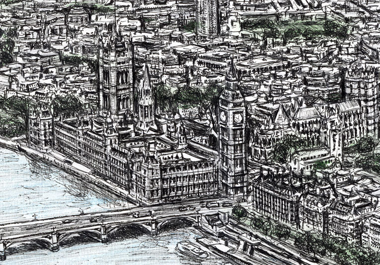 Aerial view of Houses of Parliament (Limited Edition of 75)
