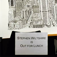 Stephen Wiltshire is out for lunch - Sydney skyline
