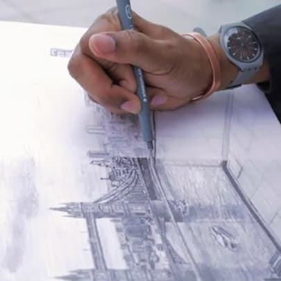 Drawing Tower Bridge from Landmark Place - Stephen Wiltshire videos - Watch now